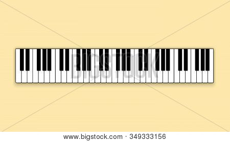 Piano. Black And White Piano Keys In A Flat Style