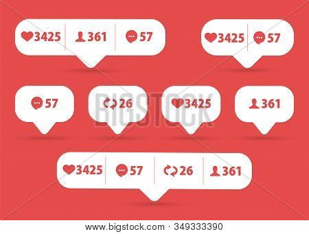 Vector Like, Follower, Comment Icon Set. Social Network Icons Pack. Social Media Set Notifications I