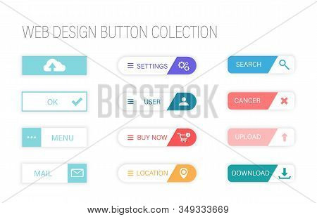 Web Design Buttons. Colorful Button Set On White Background. Flat Line Gradient Button Collection.we