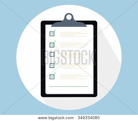 Checklist Clipboard.flat Illustration Of Clipboard With Checklist Icon For Web. Flat Design Style. C