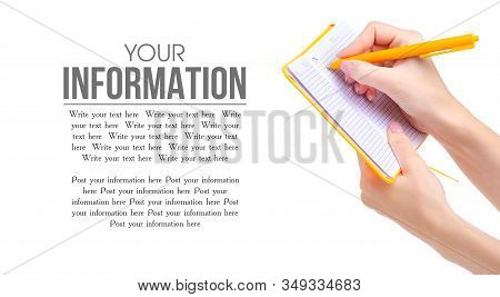Orange Notebook Diary With Pen In Hand On White Background Isolation, Copy Space