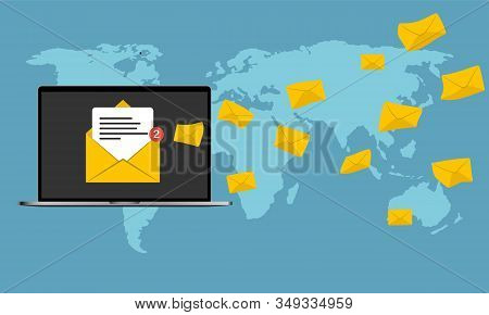 Email Marketing Concept Design. Business Computer With Email Marketing. Many Envelopes In Laptop Com