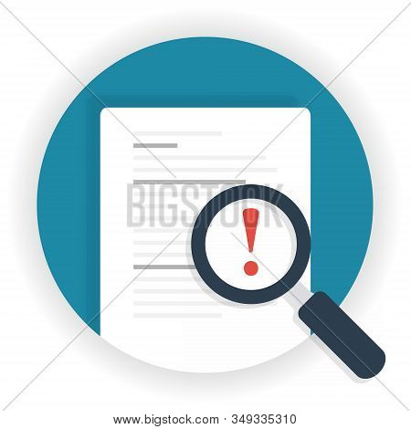 Exclamation Mark Magnifying Glass. Business Risk Analysis Symbol With Magnifying Glass Icon And Excl