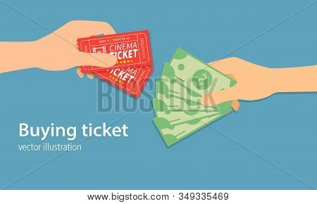 Buying Ticket For Money Concept. Money And Tickets In The Hands Of Men, Doing The Exchange. One Hand