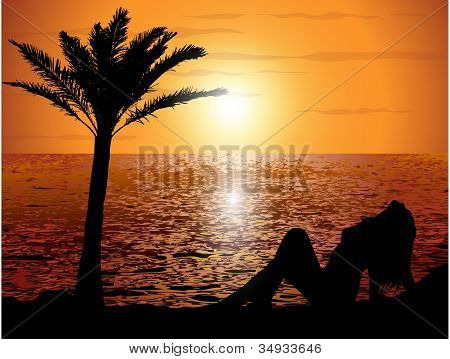 Sunset on the beach with a girl