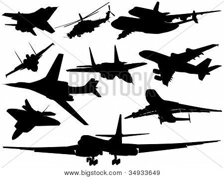 Set Of Different Aircraft