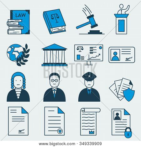 Set Of 16 Vector Colorful Icons Of Law And Jusrtice Related Items. It Represents Constitutional Righ