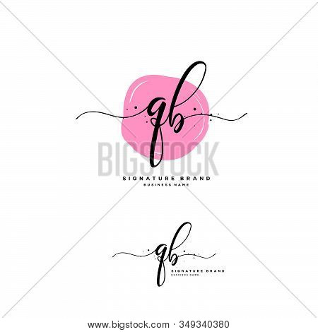 Q B Qb Initial Letter Handwriting And  Signature Logo. A Concept Handwriting Initial Logo With Templ
