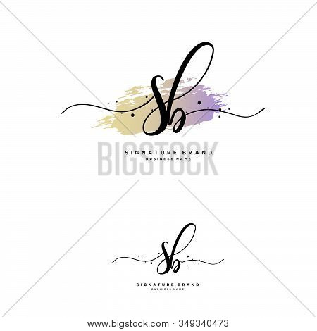 S B Sb Initial Letter Handwriting And  Signature Logo. A Concept Handwriting Initial Logo With Templ