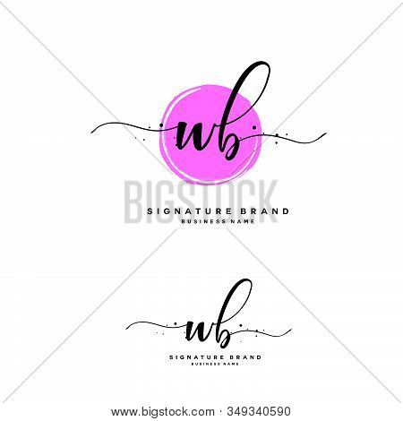 W B Wb Initial Letter Handwriting And  Signature Logo. A Concept Handwriting Initial Logo With Templ