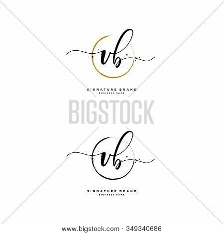 V B Vb Initial Letter Handwriting And  Signature Logo. A Concept Handwriting Initial Logo With Templ