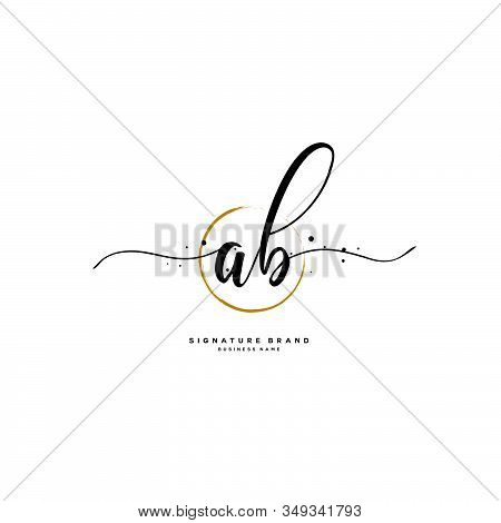 A B Ab Initial Letter Handwriting And  Signature Logo. A Concept Handwriting Initial Logo With Templ
