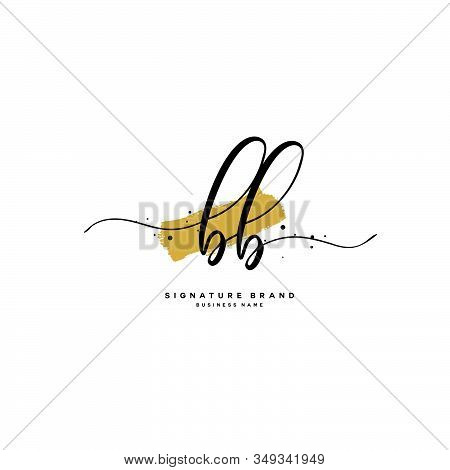 B Bb Initial Letter Handwriting And  Signature Logo. A Concept Handwriting Initial Logo With Templat