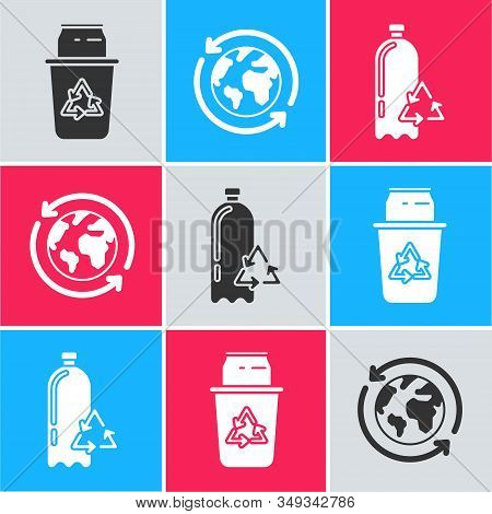 Set Recycle Bin With Recycle Symbol And Can, Planet Earth And A Recycling And Recycling Plastic Bott