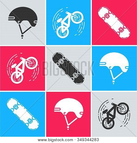 Set Helmet, Bicycle Trick And Skateboard Trick Icon. Vector