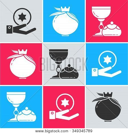 Set Jewish Coin On Hand, Pomegranate And Jewish Goblet And Hanukkah Sufganiyot Icon. Vector