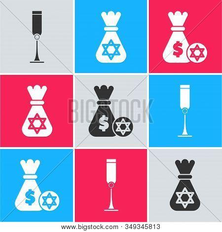 Set Jewish Goblet, Jewish Money Bag With Star Of David And Jewish Money Bag With Star Of David And C