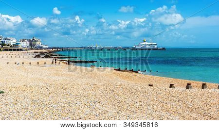 Eastbourne, East Sussex, Uk - June 03 : View Of Eastbourne Town Seafront, Houses And Beach And Pier