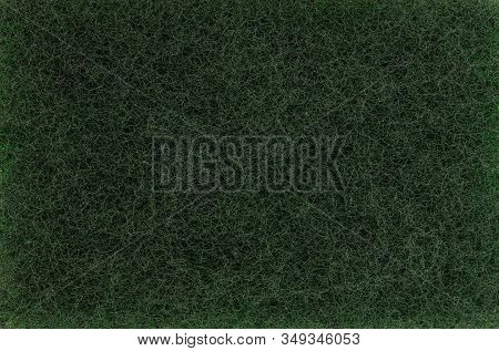Green Color Cleaning Scouring Pad Texture Background, Close Up View
