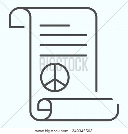 Peace Treaty Thin Line Icon. Document With Peace Symbol Vector Illustration Isolated On White. Pacif