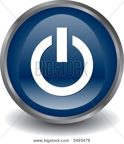 Power Button Blue Vector