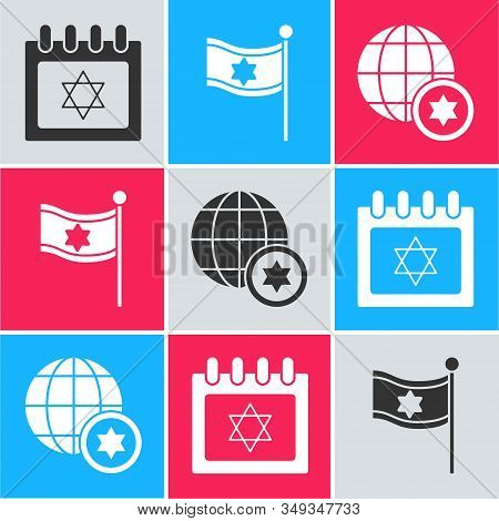 Set Jewish Calendar With Star Of David, Flag Of Israel And World Globe And Israel Icon. Vector