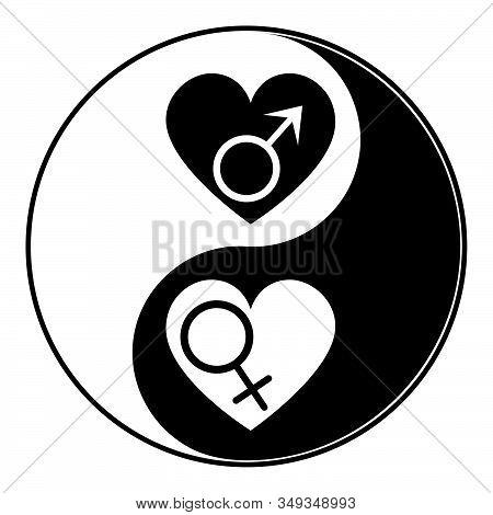 Symbolic Gender Signs Inside Of A Heart, Heterosexual Relationship.