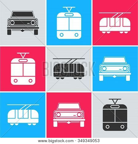 Set Off Road Car, Tram And Railway And Tram And Railway Icon. Vector