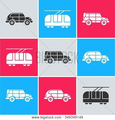 Set Hatchback Car, Tram And Railway And Off Road Car Icon. Vector