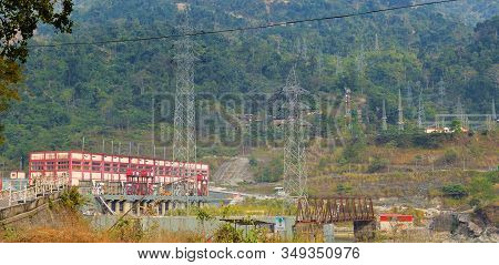 Darjeeling, India- December 25, 2019: Aerial View Of Teesta Hydro Electric Power Plant, Combined Cyc