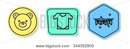 Set Line Teddy Bear Plush Toy, Baby Onesie And Carnival Garland With Flags. Colored Shapes. Vector