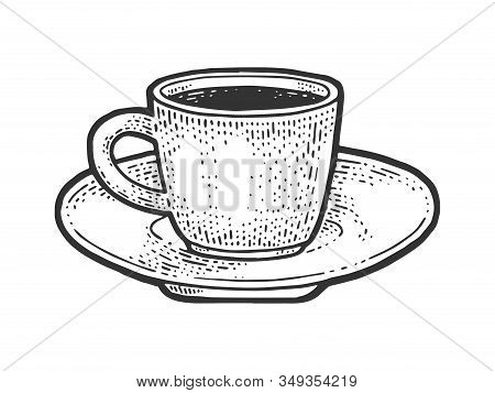 Coffee Cup Sketch Engraving Vector Illustration. T-shirt Apparel Print Design. Scratch Board Imitati