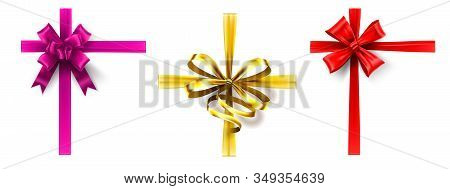 Realistic Gift Bow. Cross Ribbon With Bow, Decorating Gift Box Ribbons. Pink, Gold And Red Bows Vect