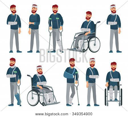 Man With Injury. Wheelchair Man With Broken Arm And Leg In Gypsum. Sad Male Character With Different
