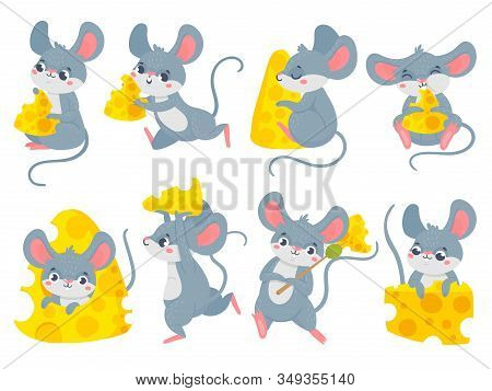 Cartoon Mouse With Cheese. Cute Little Mouses, Funny Mouse Mascot And Mice Steal Cheese Vector Set.