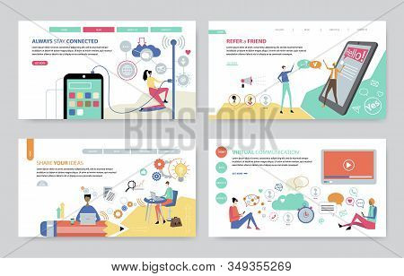 Concepts Set Of Always Stay Connected, Refer A Friend, Share Your Ideas And Virtual Communication. C