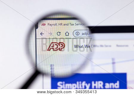 New York City, Usa - 5 February 2020: Adp Website Page Close Up, Illustrative Editorial