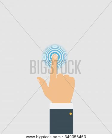 Touch Screen Finger Icon. Finger To Touch Screen. Press The Button, Flat Style, Top View. Technology