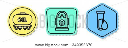 Set Line Oil Railway Cistern, Petrol Or Gas Station And Oil Petrol Test Tube. Colored Shapes. Vector
