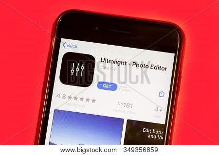 New York City, Usa - 5 February 2020: Ultralight App Logo On Phone Screen, Illustrative Editorial