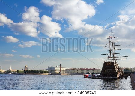 Views Of The Waters Of The River Neva, The Spit Of Vasilyevsky Island And Sailboat