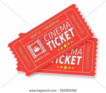 Two Red Vector Designed Cinema Tickets. Cinema, Theater, Concert, Play, Party, Event, Festival Black