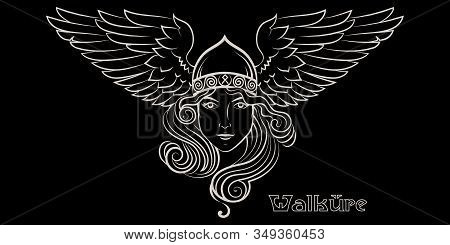 Viking Design. Valkyrie In A Winged Helmet. Image Of Valkyrie, A Woman Warrior From Scandinavian Myt