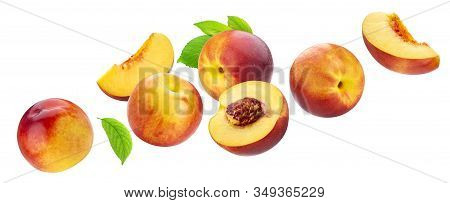 Peach Collection Isolated On White Background With Clipping Path