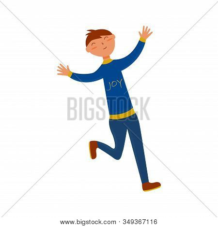 Joyful Guy Runs With Outstretched Arms In A Blue Suit With The Words Joy. Flat Illustration On A Whi