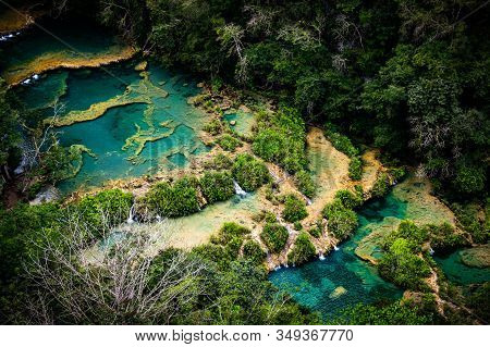 Semuc Champey, Limestone Pools On River Cahabon In The Department Of Alta Verapaz, Guatemala.