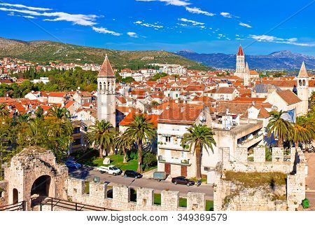 Town Of Trogir Waterfront And Landmarks View, Unesco World Heritage Site In Dalmatia Region Of Croat