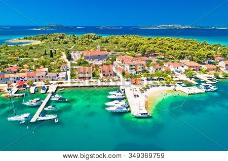 Krapanj Island Aerial Panoramic View, Sea Sponge Harvesting Village, Sibenik Archipelago Of Croatia