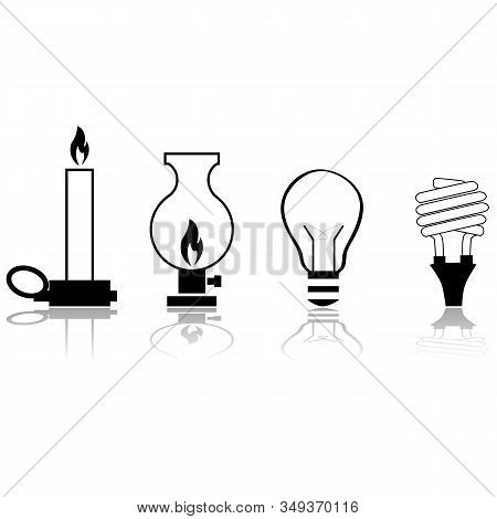 Icon Set Showing How Sources Of Artificial Light Have Evolved Through Time