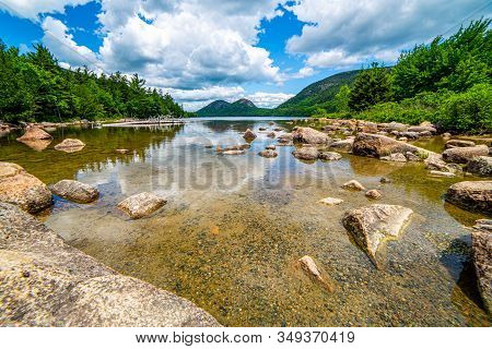 Rocky Pond View Of The Bubble Mountains And Jordon Pond In Acadia National Park, Maine, Usa